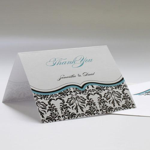 Love Bird Damask Thank You Card Berry (Pack of 1)-Weddingstar-Candy Apple Green-JadeMoghul Inc.
