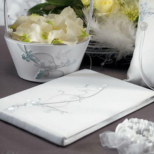 Love Bird in Classic White Guest Book (Pack of 1)-Wedding Reception Accessories-JadeMoghul Inc.
