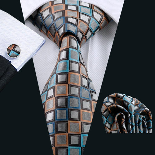 LS-1101 Barry.Wang Men`s Tie Brown Novelty 100% Silk Tie Gravata Hanky Cufflink Set For Men Formal Wedding Party Groom Business-JadeMoghul Inc.
