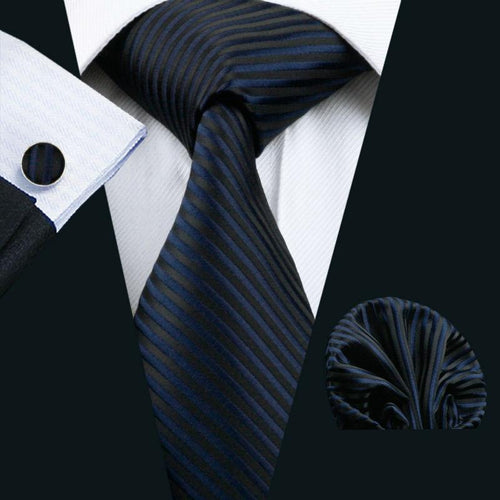 LS-877 Mens Tie Dark Striped 100% Silk Classic Jacquard Woven Barry.Wang Tie Hanky Cufflink Set For Men Formal Wedding Party-JadeMoghul Inc.