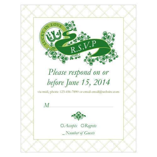 Luck Of The Irish RSVP Plum (Pack of 1)-Weddingstar-Peacock Green-JadeMoghul Inc.