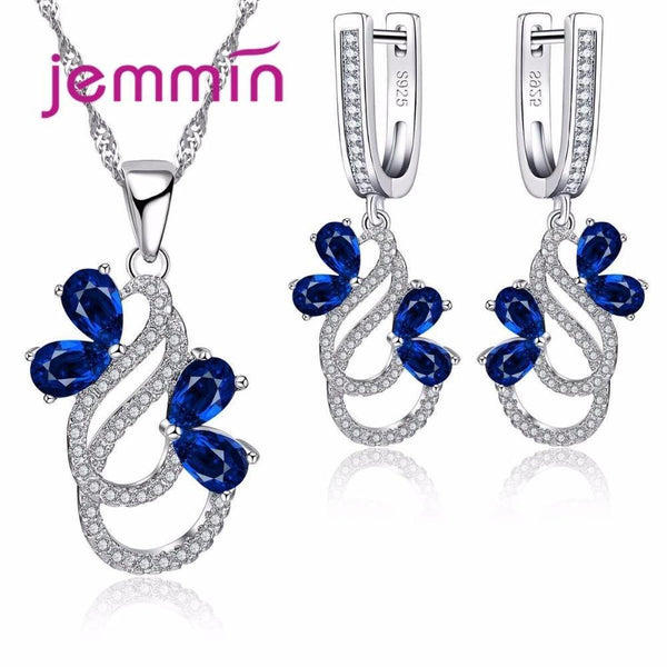 Luxury 925 Sterling Silver Necklace And Earrings Set--JadeMoghul Inc.