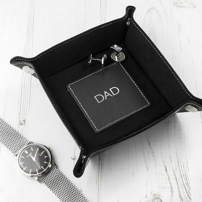Luxury Black Personalised Valet Tray-Leather Gifts & Accessories,Gifts-JadeMoghul Inc.