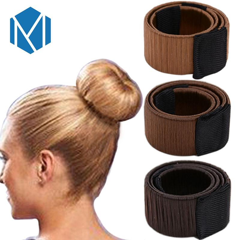 M MISM Girls French Hair Bun Maker Donut Styling Hair Fold Wrap Snap Accessories for Women Curler Roller Quick Dish Headbands-Beige-JadeMoghul Inc.