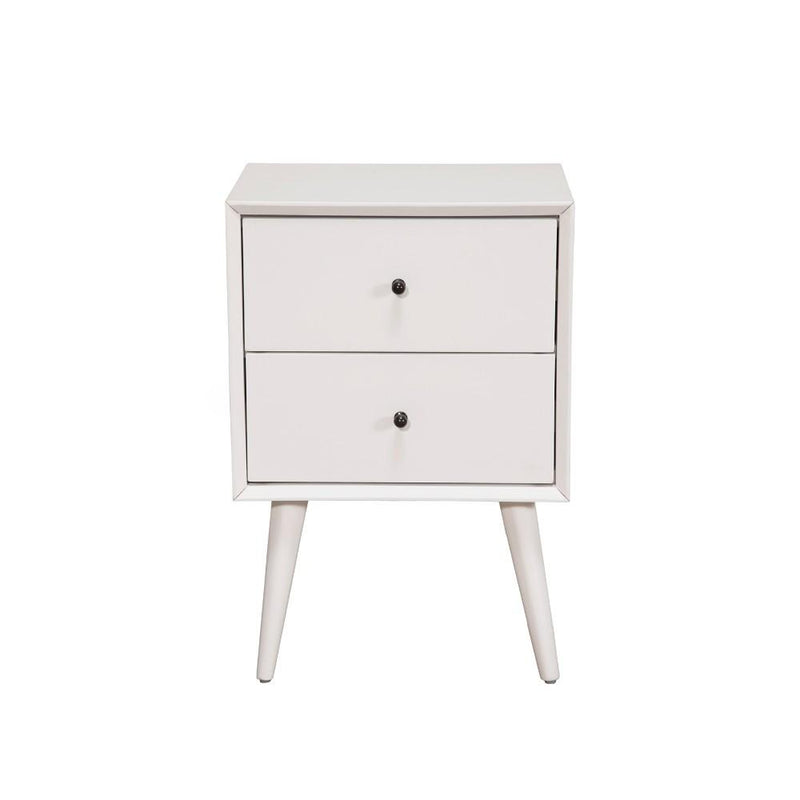 Mahogany Wood Mid Century Nightstand, White-Nightstands and Bedside Tables-White-Mahogany Solids & Okoume Veneer-JadeMoghul Inc.