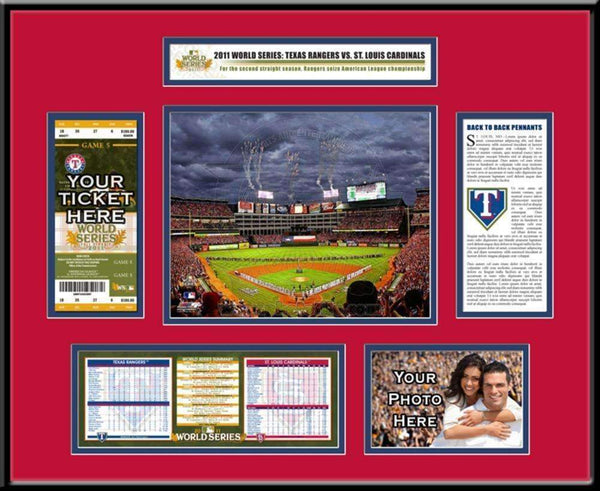 Major League Baseball-2011 MLB World Series Ticket Frame - Texas Rangers-MLB-JadeMoghul Inc.