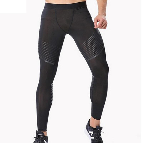 Male's Bodyboulding tights Men's Compression Pants printing Fitness tights Elastic Trousers men gym running sport leggings mens-M-Black-JadeMoghul Inc.