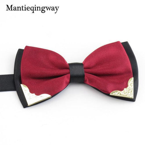 Mantieqingway Brand Bow Ties for Men Wedding Party Fashion Casual Candy Color Tie Two-tone Bowtie Classic Polyester Solid Bowtie-JadeMoghul Inc.