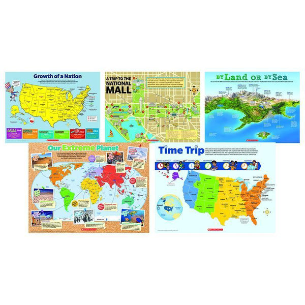 MAP SKILLS 5 PIECE POSTER ST-Learning Materials-JadeMoghul Inc.