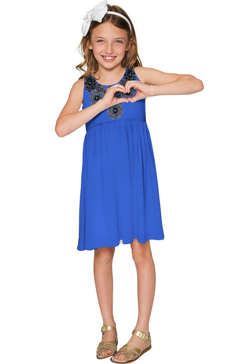 Marlin Blue Sanibel Empire Waist Dress - Girls-Solid-JadeMoghul Inc.
