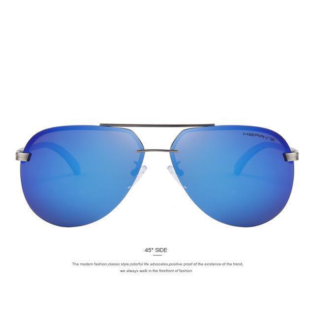 Men 100% Polarized Aluminum Alloy Frame Sunglasses-C03 Blue-JadeMoghul Inc.