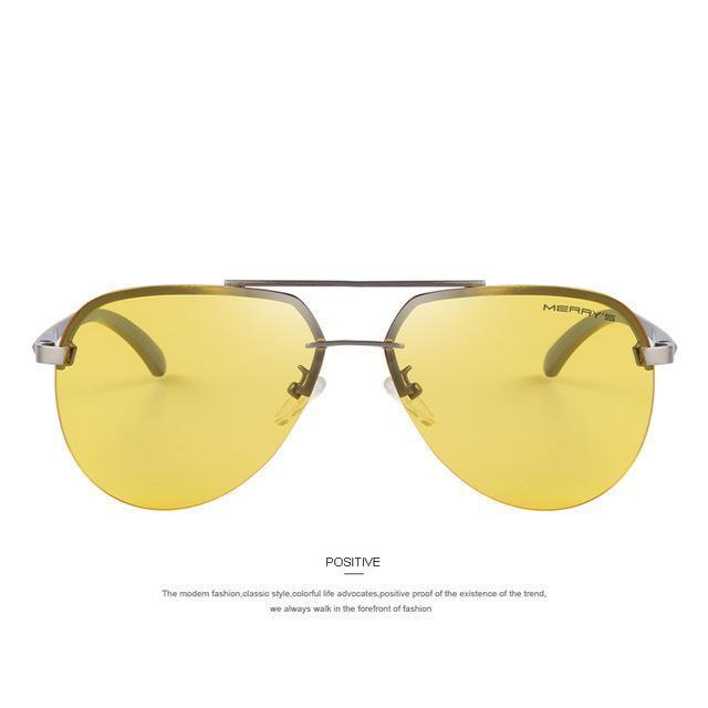 Men 100% Polarized Aluminum Alloy Frame Sunglasses-C07 Gray Yellow-JadeMoghul Inc.