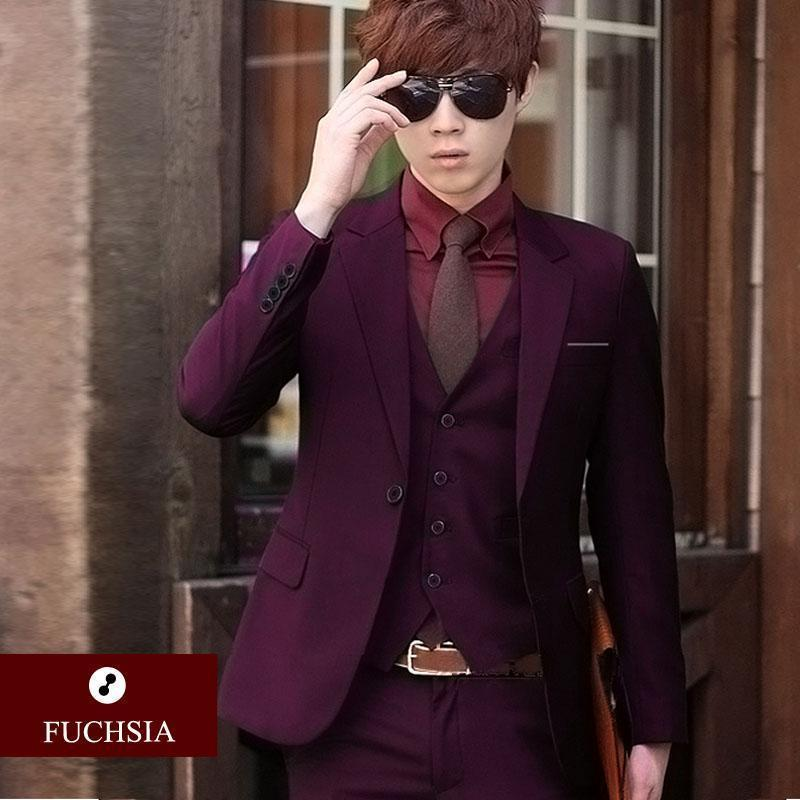 Men 3-pieces Slim Fit Suit-1 fuchsia-S-JadeMoghul Inc.