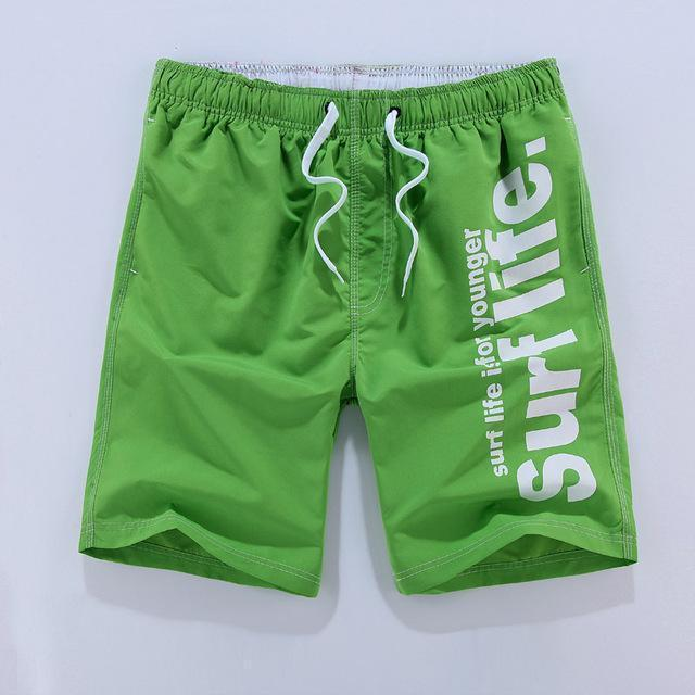 Men Beach Shorts / Quick Drying Summer Style Solid Polyester Clothing-green-L-JadeMoghul Inc.