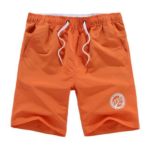Men Beach Shorts / Quick Drying Summer Style Solid Polyester Clothing-Orange O-L-JadeMoghul Inc.