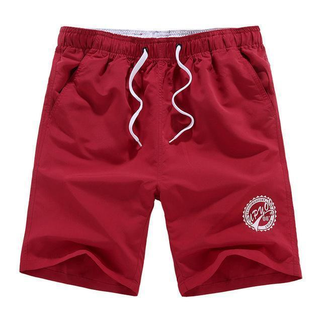 Men Beach Shorts / Quick Drying Summer Style Solid Polyester Clothing-red O-L-JadeMoghul Inc.