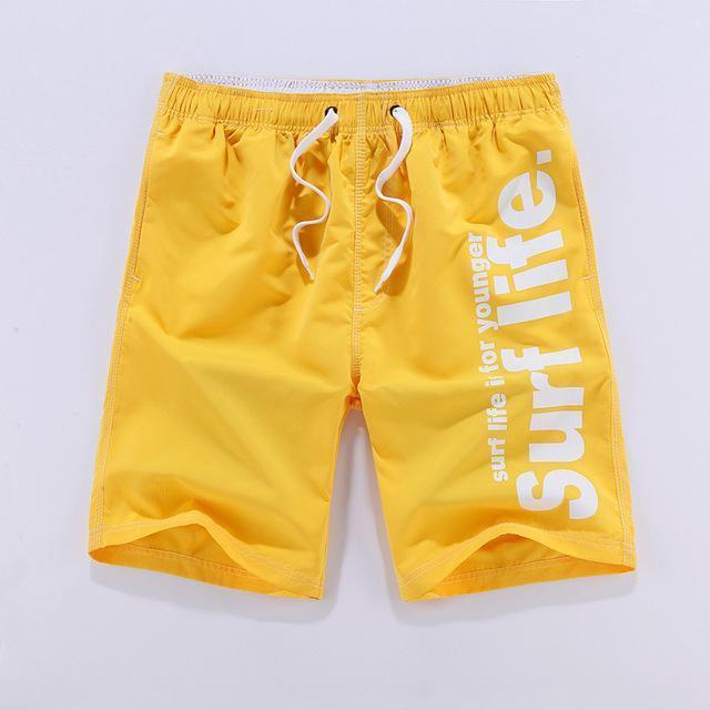 Men Beach Shorts / Quick Drying Summer Style Solid Polyester Clothing-yellow-L-JadeMoghul Inc.