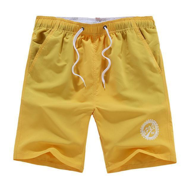 Men Beach Shorts / Quick Drying Summer Style Solid Polyester Clothing-yellow O-L-JadeMoghul Inc.