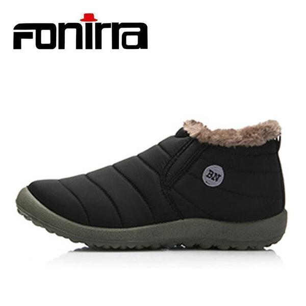 Men Boots Solid Color Warming Fabric Slip-on Ankle Boots for Male Winter Outdoor Shoes Plus size 38-48 261-Black-6.5-JadeMoghul Inc.