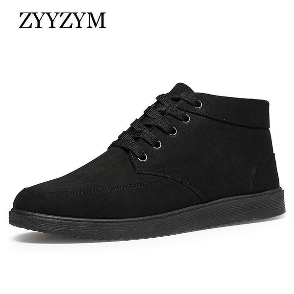 Men Boots Winter Snow Boots For Man Lace-Up Style Fashion Casual Plush Non-slip Keep Warm Youth Cotton Shoes-Black-5.5-JadeMoghul Inc.