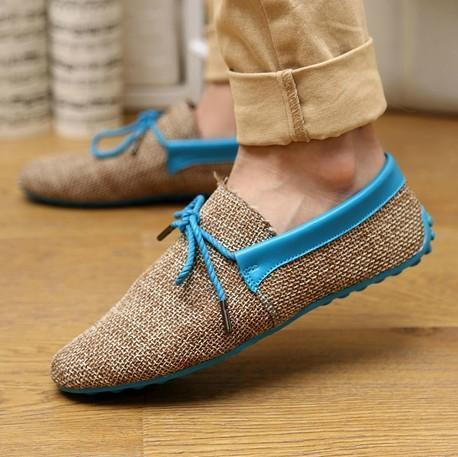 Men Breathable Fashion Weaving Casual Shoes-Blue Casual Shoes-6.5-JadeMoghul Inc.
