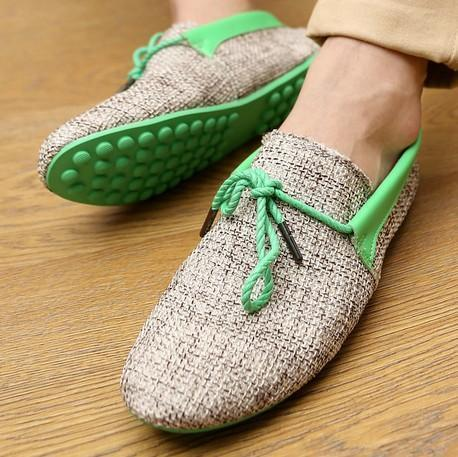 Men Breathable Fashion Weaving Casual Shoes-Green Casual Shoes-6.5-JadeMoghul Inc.