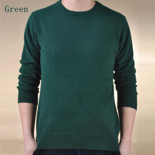 Men Cashmere Blend Long Sleeve Pullover / Soft Warm Knitwear-green-S-JadeMoghul Inc.