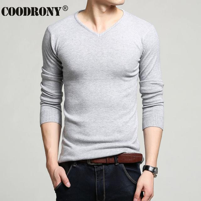 Men Cashmere & Wool Sweater / Men Solid Color V-Neck Knitted Pullover-Gray-XL-JadeMoghul Inc.