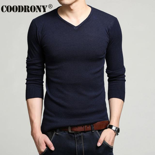 Men Cashmere & Wool Sweater / Men Solid Color V-Neck Knitted Pullover-Navy Blue-XL-JadeMoghul Inc.