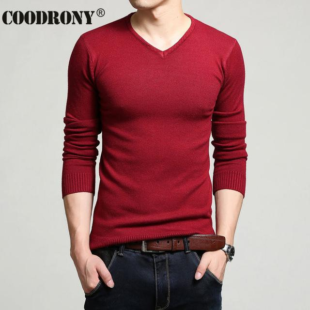 Men Cashmere & Wool Sweater / Men Solid Color V-Neck Knitted Pullover-Red-XL-JadeMoghul Inc.