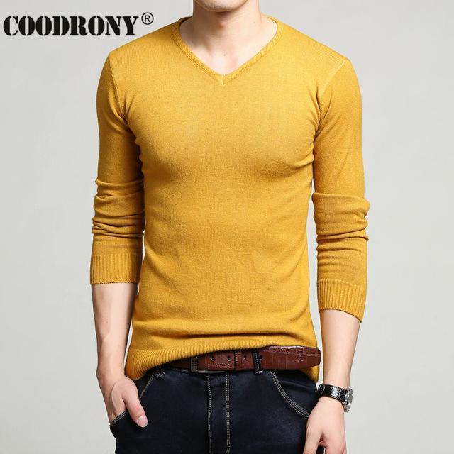 Men Cashmere & Wool Sweater / Men Solid Color V-Neck Knitted Pullover-Yellow-XL-JadeMoghul Inc.
