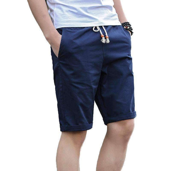 Men Casual Drawstring Cotton Summer Shorts-Black-M-JadeMoghul Inc.