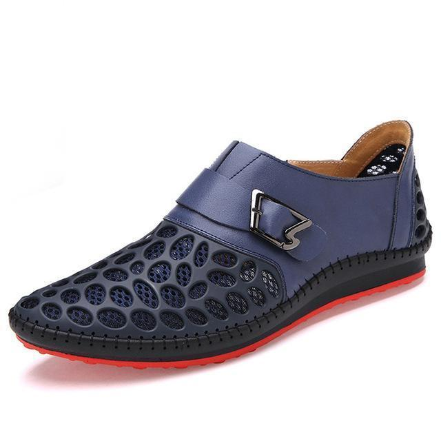 Men Casual Genuine Leather Shoes / Luxury Breathing Flats-Blue-6-JadeMoghul Inc.
