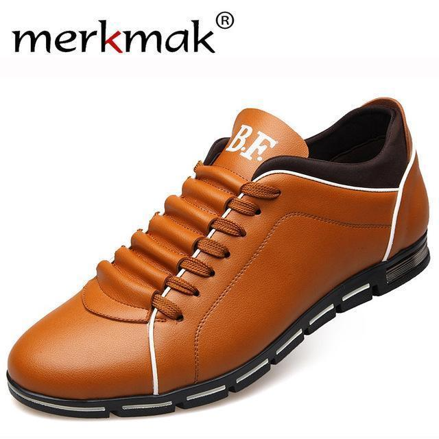 Men Casual Shoes / Fashionable Leather Flats-Yellow Casual Shoes-6-JadeMoghul Inc.