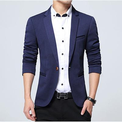 Men Casual Slim Fit Sports Jacket-Navy blue-XXXL-JadeMoghul Inc.