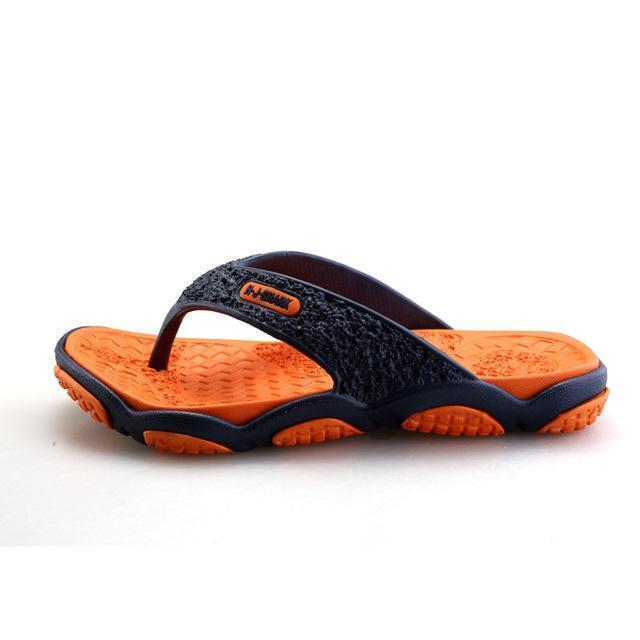 Men Casual Summer Slippers / Leisure Rubber Platform Sandals-Orange-7.5-JadeMoghul Inc.