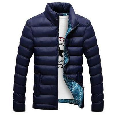 Men Cotton Blend Bomber Jacket / Casual Thick Outwear-Blue-XL-JadeMoghul Inc.