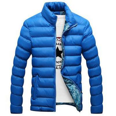 Men Cotton Blend Bomber Jacket / Casual Thick Outwear-Color Blue-XL-JadeMoghul Inc.
