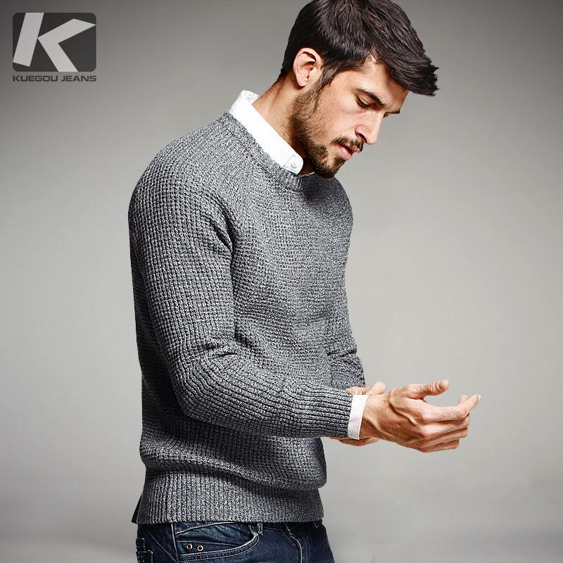 Men Cotton Sweater / Knitted Brand Clothing / Men Pullover-Grey-XL-JadeMoghul Inc.