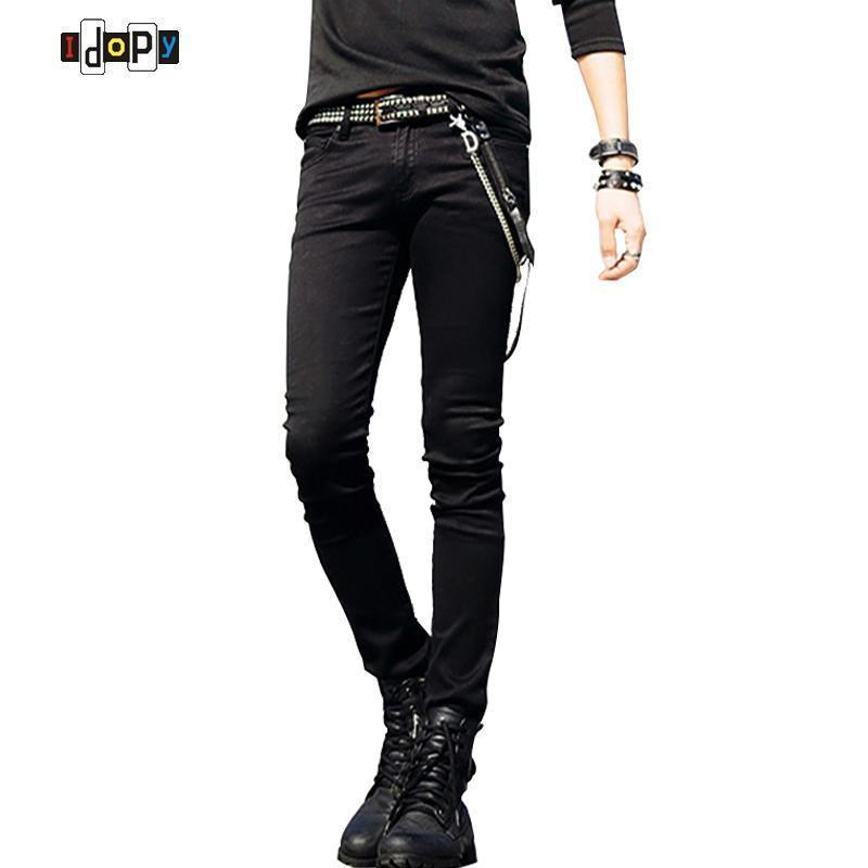 Men Designer Slim Fit Jeans / Super Skinny Pants With Chain-black-27-JadeMoghul Inc.