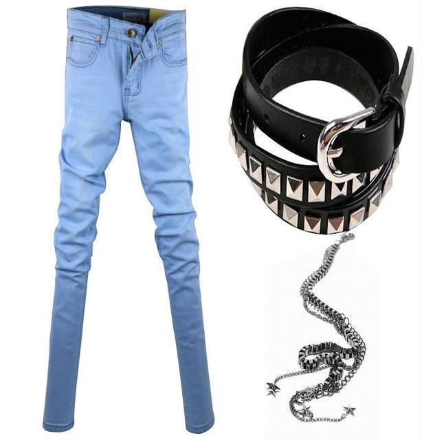 Men Designer Slim Fit Jeans / Super Skinny Pants With Chain-Lightblue-27-JadeMoghul Inc.