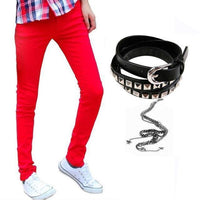 Men Designer Slim Fit Jeans / Super Skinny Pants With Chain-Red-27-JadeMoghul Inc.