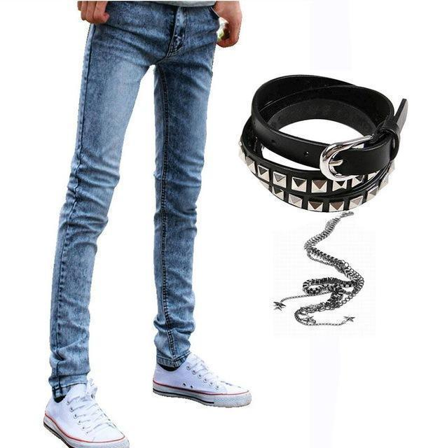 Men Designer Slim Fit Jeans / Super Skinny Pants With Chain-Vblue-27-JadeMoghul Inc.