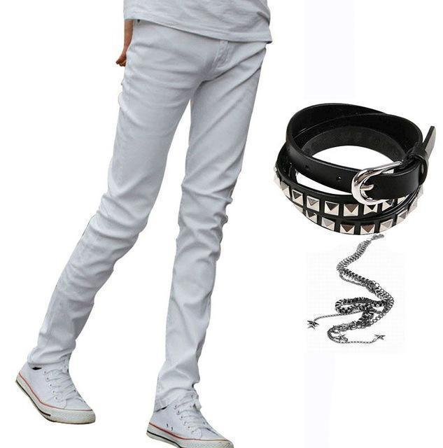 Men Designer Slim Fit Jeans / Super Skinny Pants With Chain-White-27-JadeMoghul Inc.