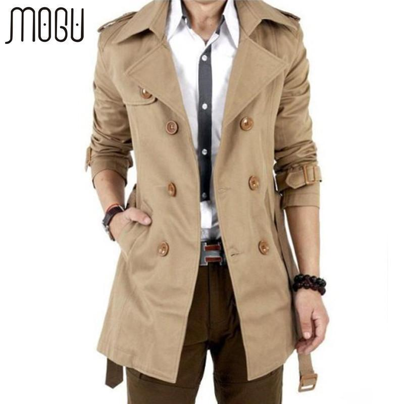 Men Double Breasted Outerwear Casual Coat / Jacket / Men Trench Coat-black-M-JadeMoghul Inc.