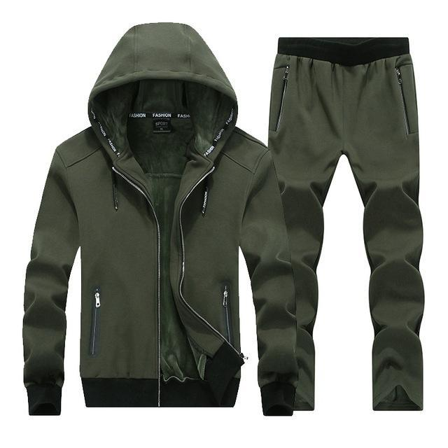 Men Fleece Hoodie Set / Warm Outerwear For Active Lifestyle-Army green-XL-JadeMoghul Inc.