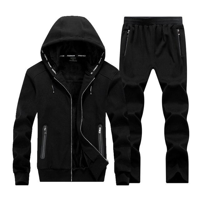 Men Fleece Hoodie Set / Warm Outerwear For Active Lifestyle-Black-XL-JadeMoghul Inc.