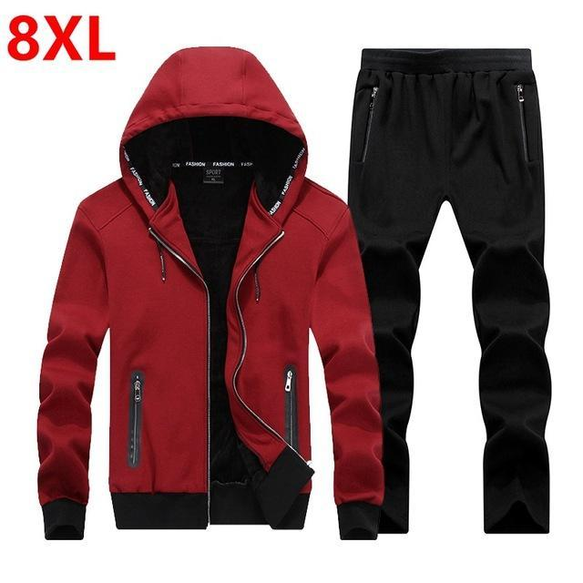 Men Fleece Hoodie Set / Warm Outerwear For Active Lifestyle-Red wine-XL-JadeMoghul Inc.