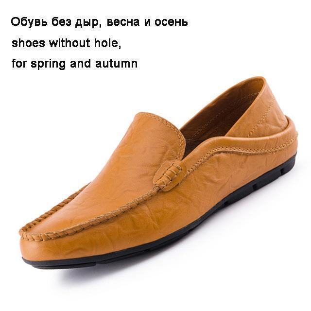 Men Genuine Leather Loafers-yellow-6.5-JadeMoghul Inc.