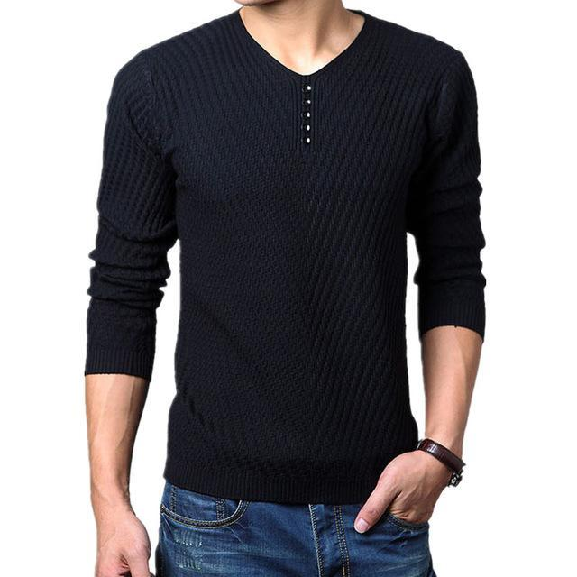 Men Henley Neck Smart Sweater / Men Casual everyday Smart Pullover-Black-M-JadeMoghul Inc.